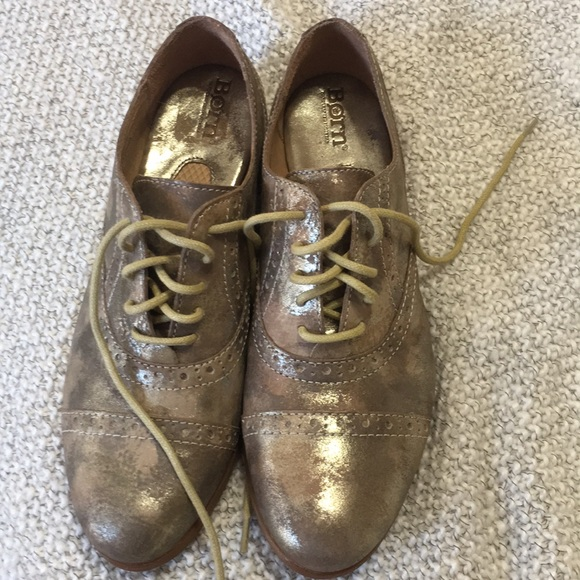 74eed57570 Born Shoes | Leather Metallic Lace Up Loafers Size 398 | Poshmark